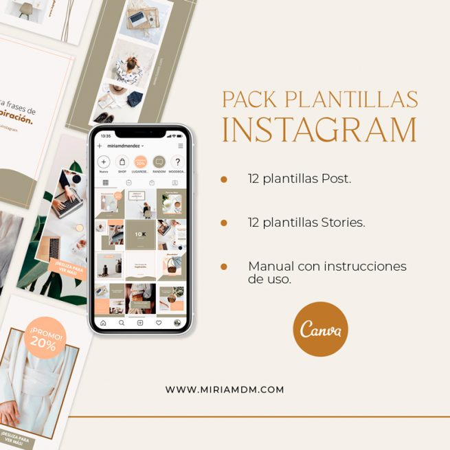 Pack Plantillas Instagram Canva Miriamdm